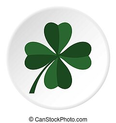 Green four leaf clover icon circle