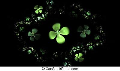 Green Four Leaf Clover On Black Ani - Shamrock, animated...