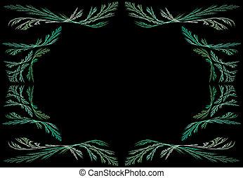 Green Fractal Frame Copy Space