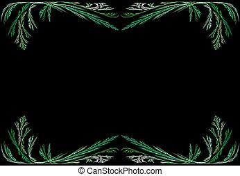 Green Fractal Frame With Black - Leafy green fractal frame...
