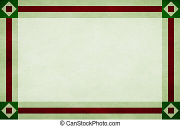 Green frame around a mint textured parchment background. Red textured ribbon border trim. Square in diamond design corners.