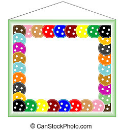green frame for photo, with buttons