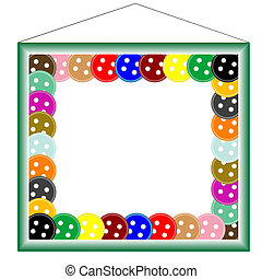green frame for photos, with buttons