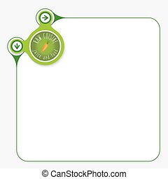 Green frame for your text and icon of raw cuisine