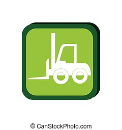 green frame with forklift truck with forks