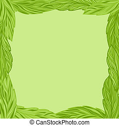 Green frame with tea leaves