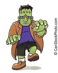 Green Frankenstein Cartoon Character