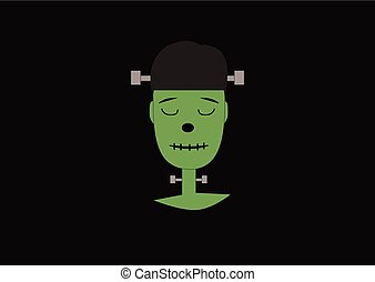 green frankenstein monster on a dark background