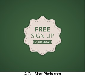 Free SignUp label - Green Free SignUp label. Vector...