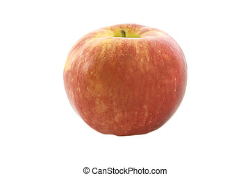 Green fresh apple. Macro. isolated white