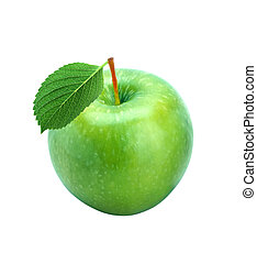 Green fresh apple with leaf isolated on white