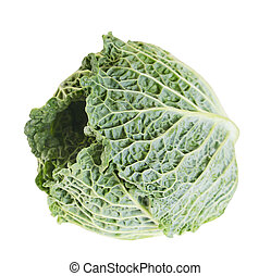 Green fresh cabbage isolated on white background