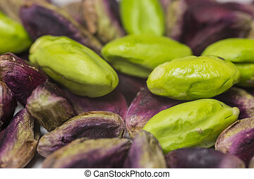 Green fresh pistachio of Bronte