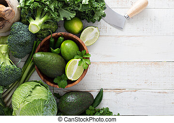Green fresh produce copy space - Green fresh fruit and...