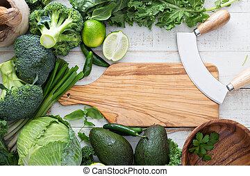Green fresh produce copy space