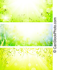 green fresh sunny banners