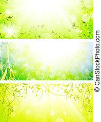 green fresh sunny banners