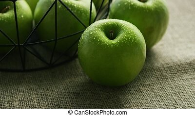Green fresh wet apples - Closeup ripe healthy green apples...