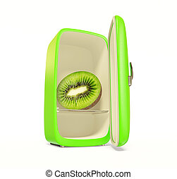 fridge - green fridge with fresh kiwi inside on white