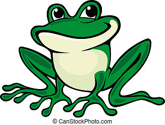 Green frog - Cartoon green frog isolated on white. Vector...
