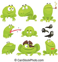 Green Frog Funny Character Set Of Different Emotions. Flat...