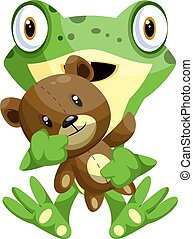 Green frog holding a teddy bear, illustration, vector on white background.