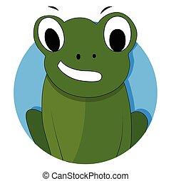 Green frog icon app vector