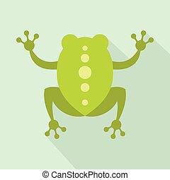Green frog icon, flat style