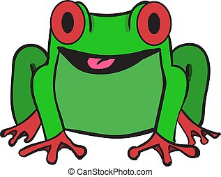 Green frog, illustration, vector on white background.