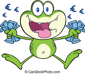 Green Frog Jumping With Euro