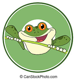 Green Frog On A Twig Logo - Happy Red Eyed Blue Tree Frog In...