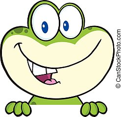 Green Frog Over Blank Sign