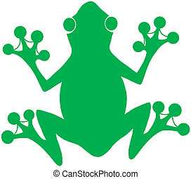 Green Frog Silhouette Logo Cartoon Character