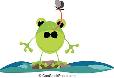 Green frog, vector or color illustration. - A colour...