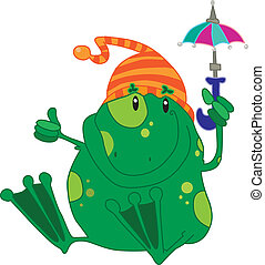 Green frog with an umbrella
