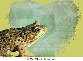Green Frog with Valentine