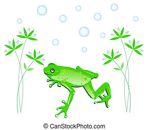 Green Frog with leaves - Green frog with an ornamental plant...