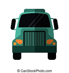 green front truck transportation commercial vehicle