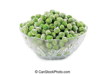 Green frozen peas.