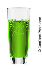 Green fruit flavor soft drinks whit soda water
