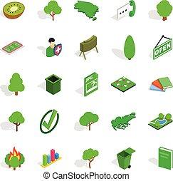 Green fruit icons set, isometric style