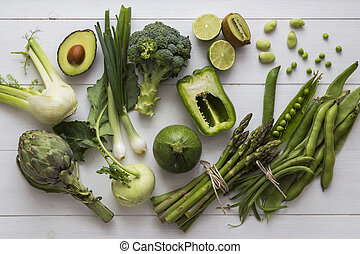 Green fruits and cooking vegetables - Collection of green...
