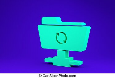 Green FTP sync refresh icon isolated on blue background. Software update, transfer protocol, router, teamwork tool management, copy process. Minimalism concept. 3d illustration 3D render