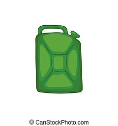 Green fuel canister icon, cartoon style