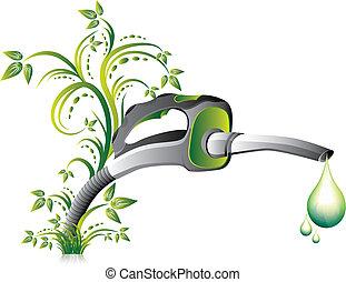 Biofuel green fuel pump nozzle, vector illustration