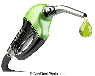 Green fuel pump nozzle with drop oil. Bio fuel concept.