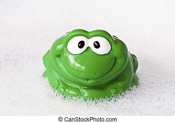 frog in a bath foam