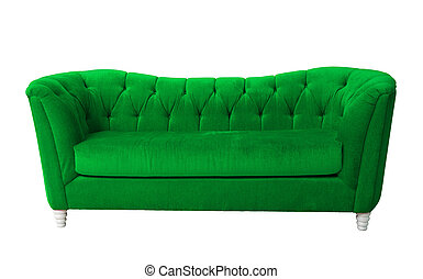 Green furniture isolated with clipping path