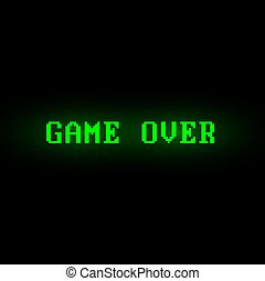 Green 'Game Over' screen on black background