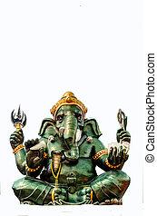 Green Ganesha Hindu God statue on white background